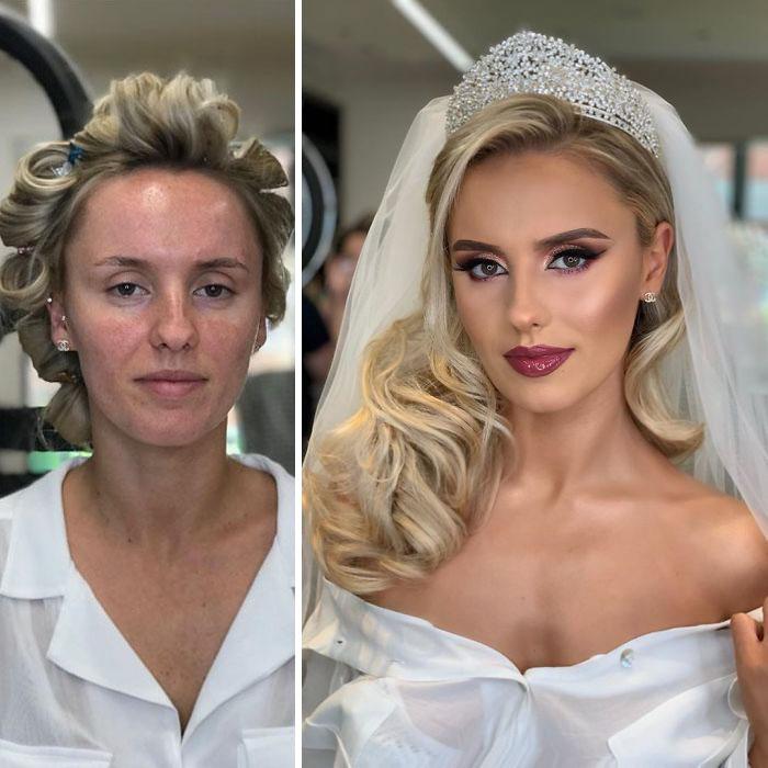 5d4d3da0a6f24 bride 1 5d4bd00bd6cc2  700 - 23 lindas noivas antes e depois de sua maquiagem de Casamento