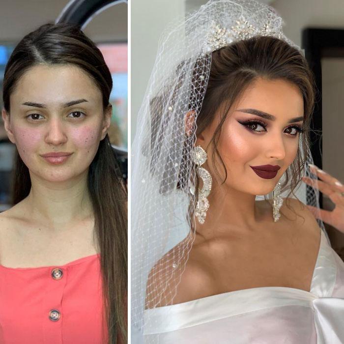 5d4d3da5699dd bride 19 5d4bd02d249fa  700 - 23 lindas noivas antes e depois de sua maquiagem de Casamento