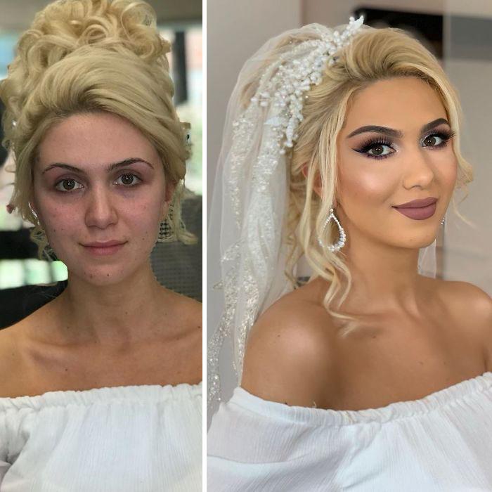5d4d3da5a0358 bride 20 5d4bd02eb2a06  700 - 23 lindas noivas antes e depois de sua maquiagem de Casamento