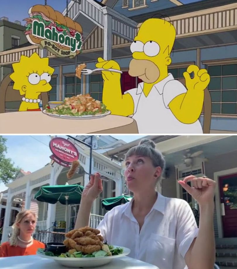 "5d6cc3ef835f6 An episode of The Simpsons recreated in real life fun by two fans 5d678f85d5805 700 - Mulher recria cenas de Homer de ""Os Simpsons"" comendo em restaurantes"