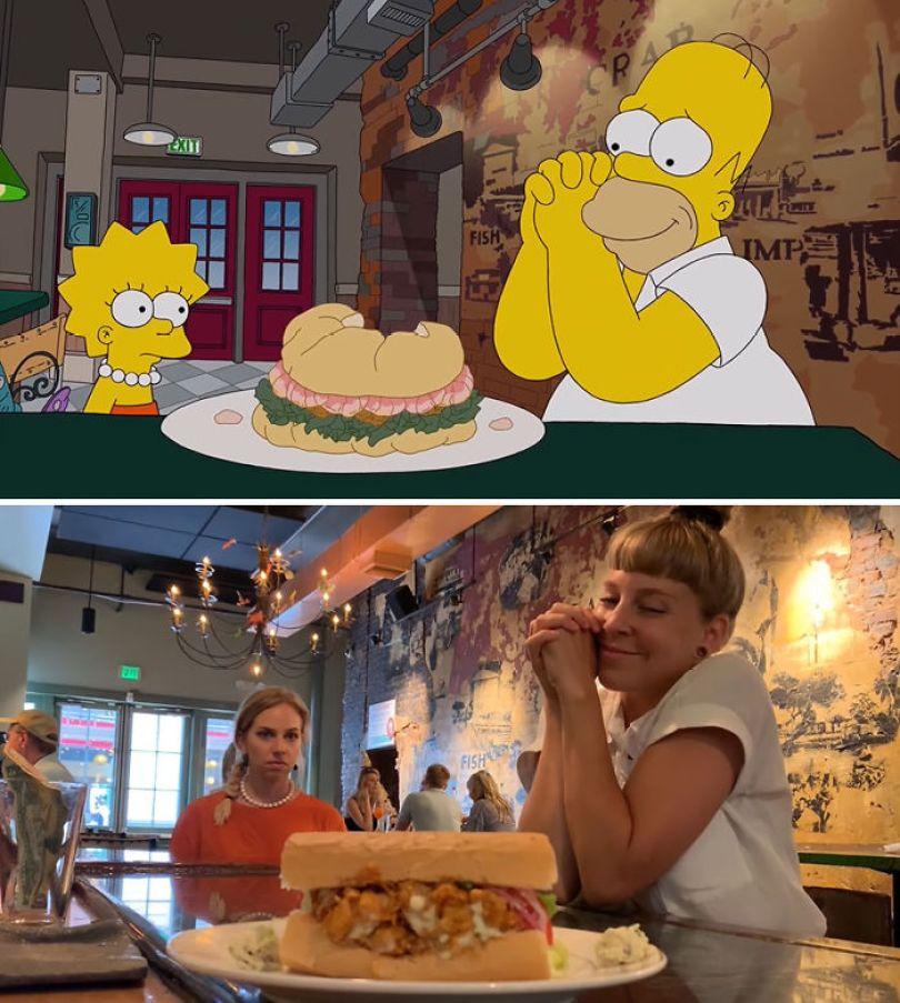 """5d6cc3efc38cf 1 5d68cf4d97943 700 - Mulher recria cenas de Homer de """"Os Simpsons"""" comendo em restaurantes"""