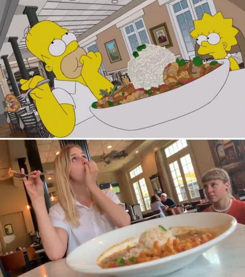 "5d6cc3f0b6f77 An episode of The Simpsons recreated in real life fun by two fans 5d678f87a815a 700 - Mulher recria cenas de Homer de ""Os Simpsons"" comendo em restaurantes"