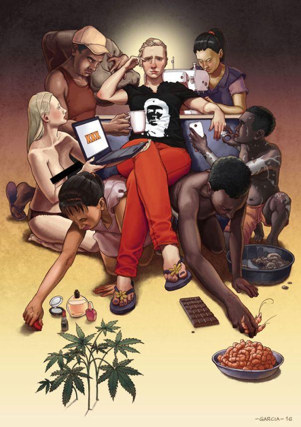 5d8dbd1ae2c46 Daniel Garcia Art Illustration Personal Slaves Capitalism Consumer Product Woman Man Fashion Food Porn 6 5d8a0c7250b2d 5d8ca55b9000b  700 - 35 ilustrações instigantes que mostram o que há de errado com nossa sociedade
