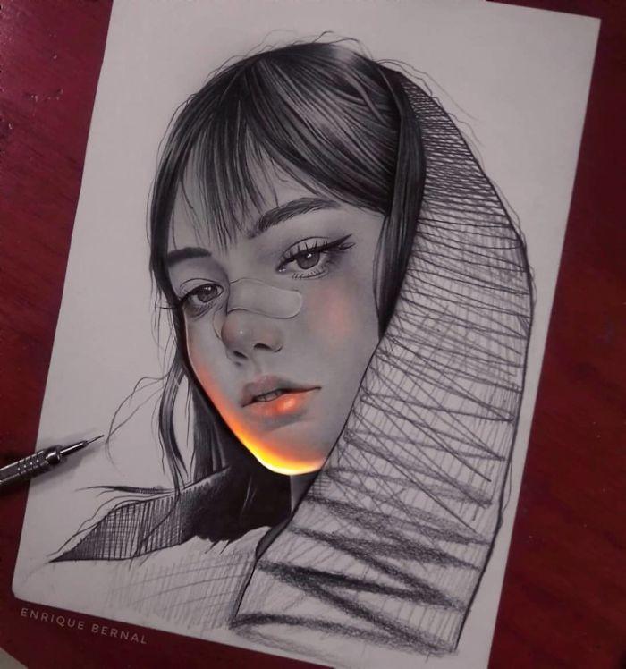 5e4b9f67eafab B0XNNzcpigp png  700 - Técnica única deste artista faz parecer que seus desenhos estão brilhando