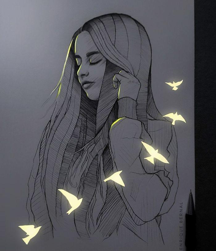 5e4b9f682a555 B45EesGpXn3 png  700 - Técnica única deste artista faz parecer que seus desenhos estão brilhando