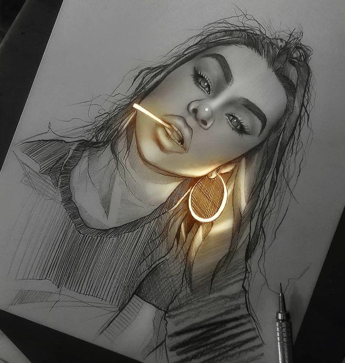 5e4b9f69220a3 B4kTaETJht6 png  700 - Técnica única deste artista faz parecer que seus desenhos estão brilhando