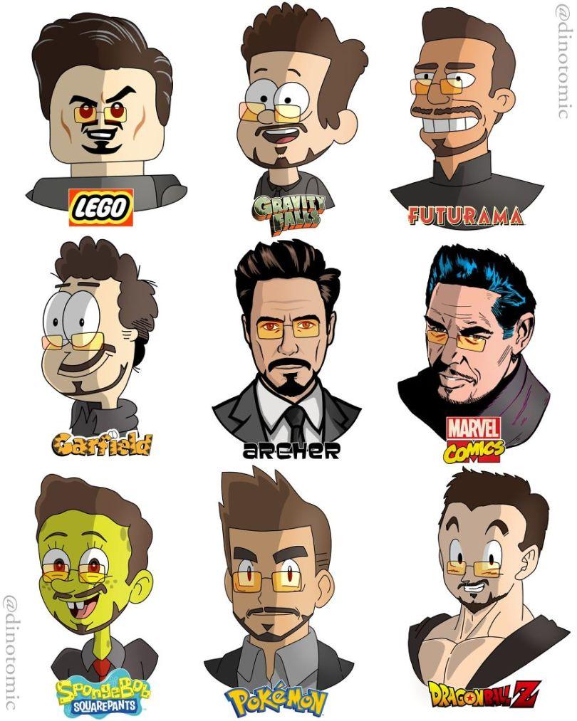 5ea143434a095 different cartoon styles drawings dinotomic 1 12 5e9e964291f87  880 - Artista desenhou celebridades como desenhos e o resultado é incrível