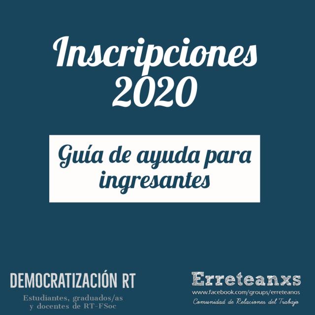 Info sobre inscripciones 2020