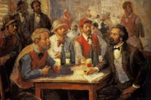 Hans Mocznay. Marx giovane a colloquio con operai di Parigi, 1844.