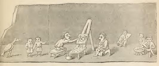 Graffito pompeiano rinvenuto in una casa privato. Studio di pittori. Immagine tratta dal testo citato di Wright.