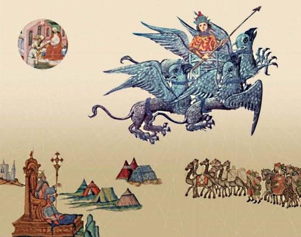 Figura 1. Copertina del libro: Umberto Eco, Baudolino, Milano, Bompiani, 2000. L'uomo-aquila che campeggia in primo piano è una rielaborazione di una miniatura tratta dalla edizione del 1338 del Roman d'Alexandre.
