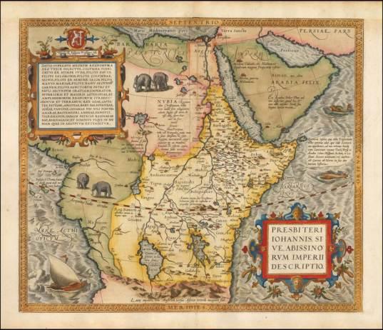 Figura 2. Il Regno del Prete Gianni collocato in Africa. Riproduzione della mappa di Abraham Ortelius tratta dal Theatrum Orbis Terrarum (1570). Immagine tratta dal sito Barry Lawrence Riuderman antique maps.