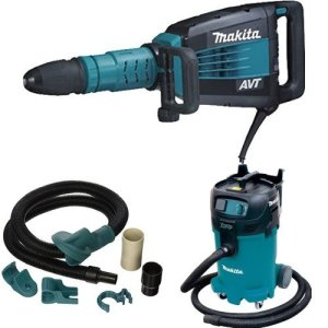 Makita HM1214C 27.1-Pound Demolition Hammer with Makita 196571-4 Dust Extraction Attachment, SDS-MAX, Demolition with Makita VC4710 12-Gallon Wet/Dry Vacuum