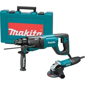 Makita HR2641X1 SDS-PLUS 3-Mode Variable Speed AVT Rotary Hammer with Case and 4-1/2″ Angle Grinder, 1″