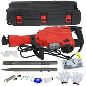 Smartxchoices Heavy Duty Electric Demolition Jack Hammer Bundle Kit Concrete Breaker Punch & Chisel Bits w/Case and Gloves, 2200W
