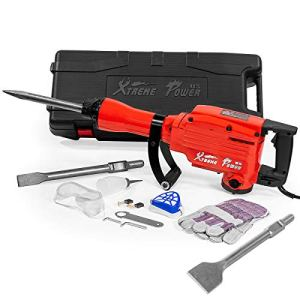 XtremepowerUS 2200W Electric Demolition Jack Hammer 55-ft/lbs DIY Concrete Breaker w/ (3) Chisel Bits + Case
