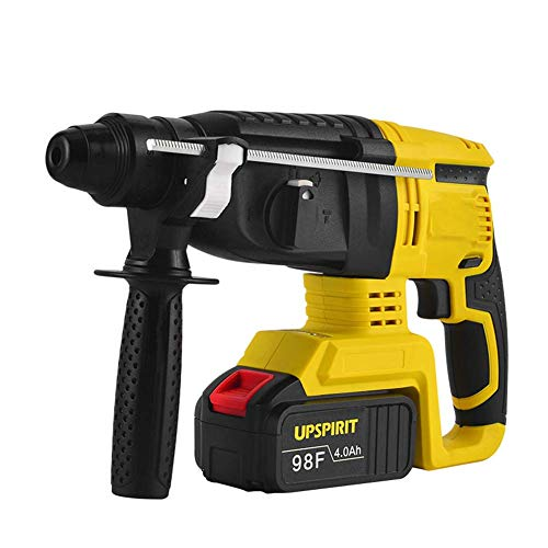 Rotary Hammer Drill with SDS Plus, Brushless Multifunctional Electric Hammer 24V 4.0Ah 1.7J Impact Energy 980BPM 0-1000PM,2 Battery LMMS (Color : 1 Battery)