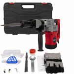1280W 3800 RPM Demolition Electric Jack Hammer Drill, 12.5 Amp motor & 1-1/2in SDS Drill Diameter Concrete Breaker Trigger Lock w/ 2 Chisel Bits and Carrying Case
