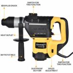 TOHUU 1-1/4 Inch SDS-Plus 13.6 Amp Rotary Hammer Drill, 4700BPM, 1000RPM, 4 Functions, Safety Clutch Functions with Vibration Control, Ideal for Concrete and Stones