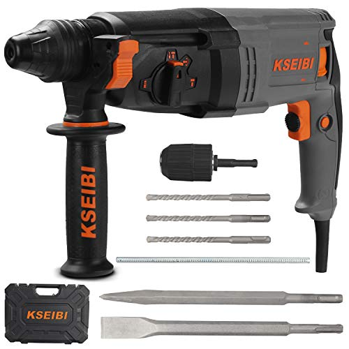 KSEIBI 1 inch Rotary Hammer Drill 6.5 Amp SDS Plus 4 Functions Reduced Vibration Variable Speed Drilling 900RPM, 4350BPM, 5 Joules Impact Rate, Safety Clutch (KSH 3-26)