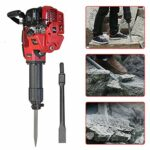 2 Stroke Gas Powered Gasoline Piling Single Cylinder Air Coolin Demolition Jack Hammer Concrete Breaker Drill with 2 Chisels Jackhammers (1700w 1500BPM 52CC 2.4HP)