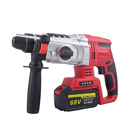 DNYSYSJ Brushless Rechargeable Electric Hammer, 68V 800W Electric Rotary Hammer Impact Drill Concrete Breaker Demolition Impact Drill for Wood, Masonry, Concrete And Steel.
