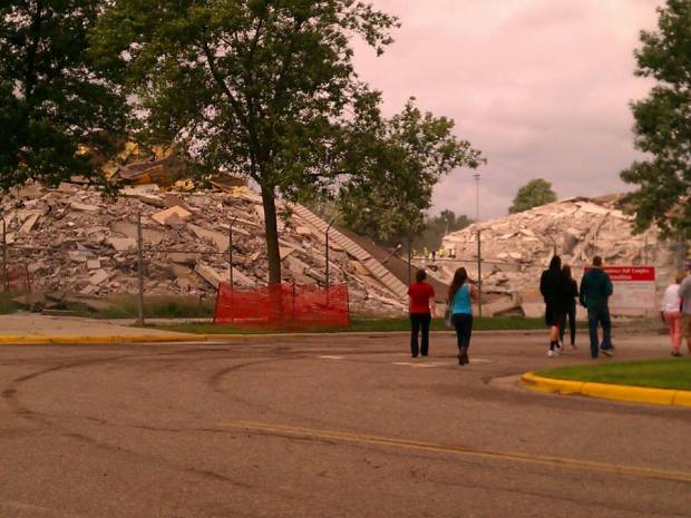 Two 13 story buildings - imploded into two small piles of rubble