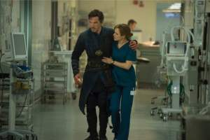 Christine Palmer (Rachel McAdams) and Doctor Stephen Strange (Benedict Cumberbatch) face some harsh realities.