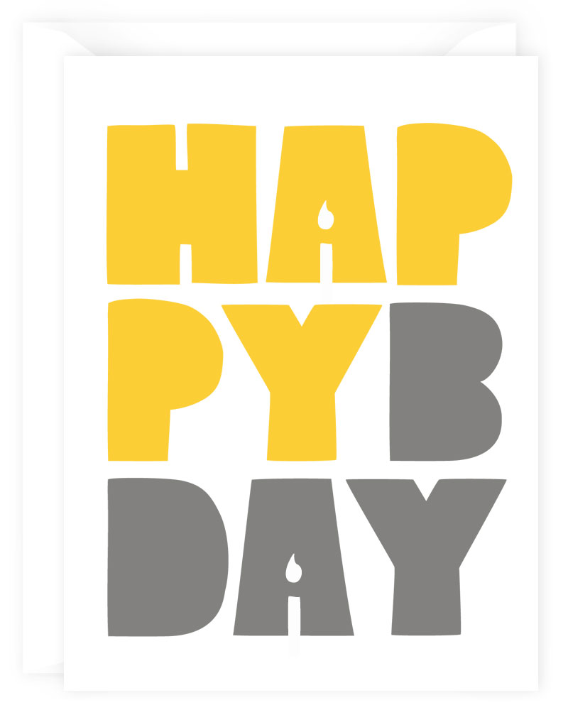 happy bday yellow note cards