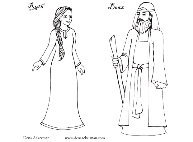 Ruth paper dolls for shavuot dena ackerman for Ruth and boaz coloring pages