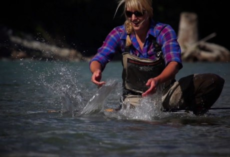 Releasing Steelhead at B.C. West