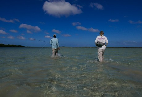 Wading for bonefish at Andros South