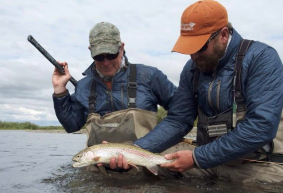 Fly fishing for rainbow trout