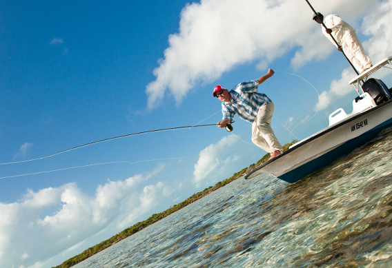 Fly fishing for bonefish.