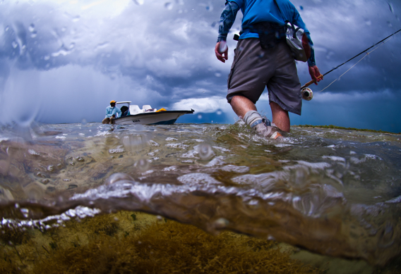 Wading for bonefish.