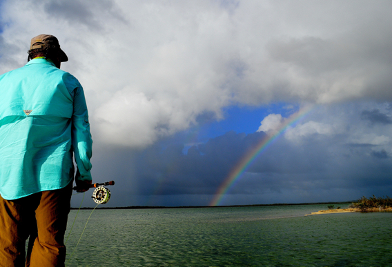 Fly fishing the flats with rainbow.