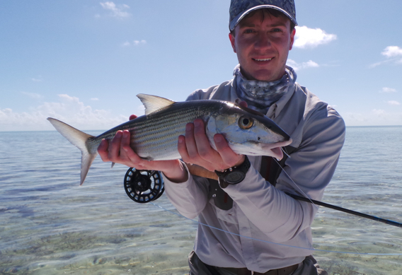 Fly fishing for big bonefish.