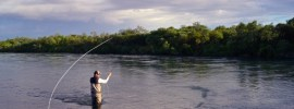 Jerry French spey casting at Alaska West.