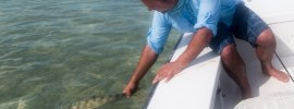 Releasing a big bonefish from Andros South by Ryan Durkin.