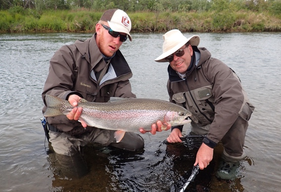 Fly fishing for big wild Alaskan rainbow trout at Alaska West