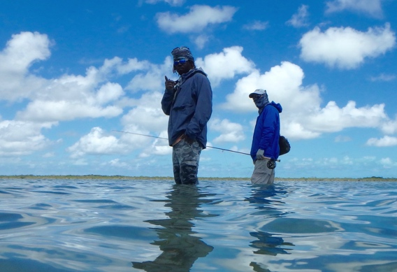 wading for bonefish by Peter Viau