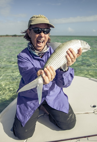 Fly fishing for big bonefish at Andros South