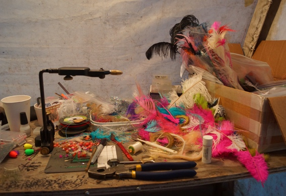 Messy fly tying desk