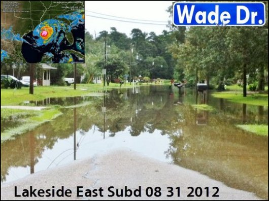 Hurricane Isaac Flooding in Lakeside East Subdivision Denham Srpings LA 70726