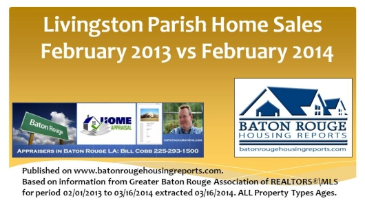 Livingston Parish Home Sales February Slideshare 2013 versus February 2014