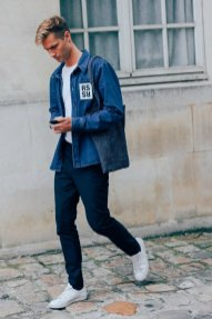 Tapered Skinny Jeans and Blue Denim Jacket