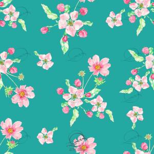 Estampa rapport floral flor de maçã com fundo verde