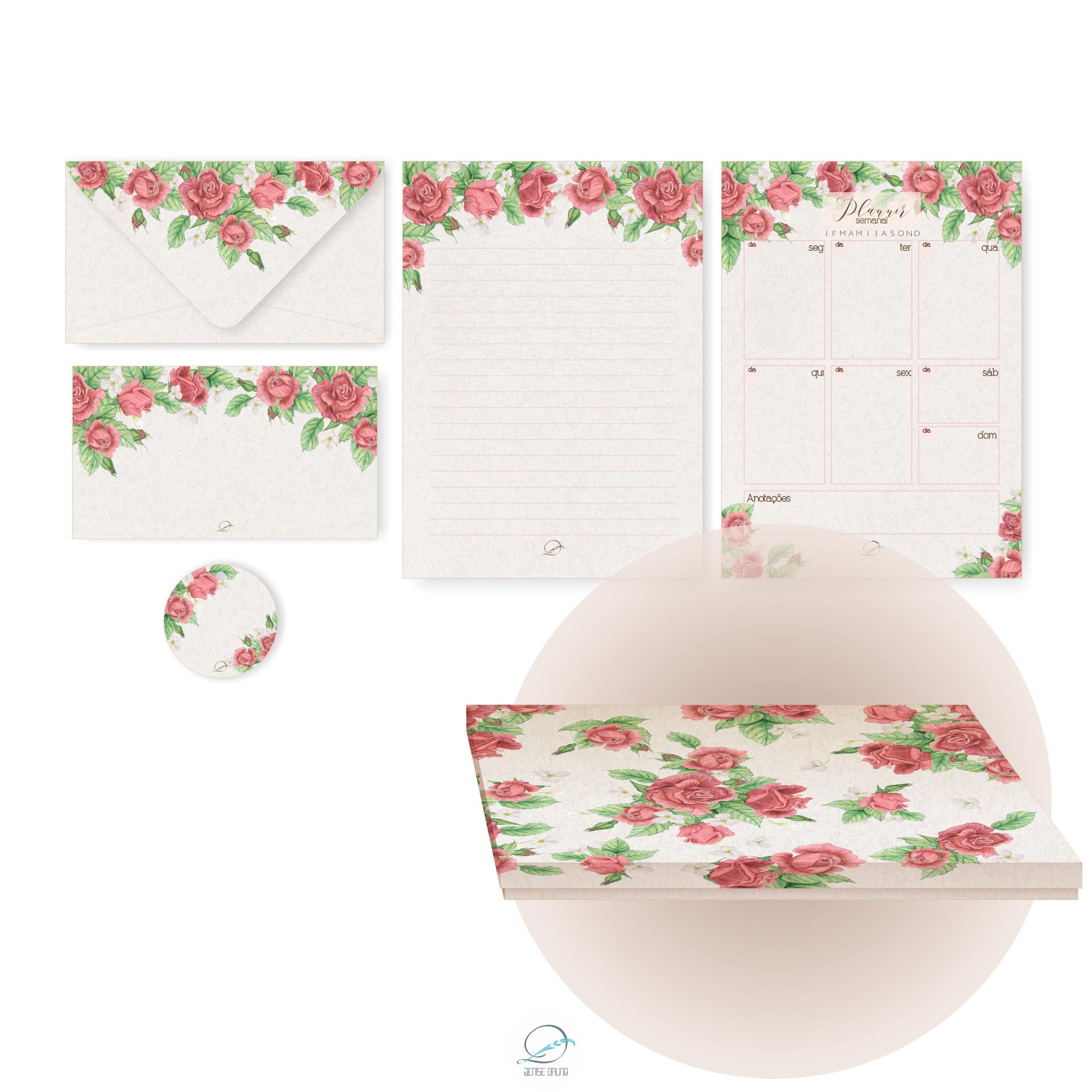 Kit papelaria presente 1 – Personalizado – Com caixa decorativa