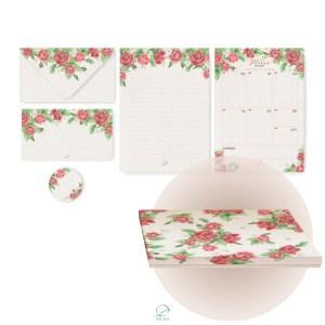 Kit presente na caixinha - itens de papelaria papel de carta, cartão de felicitação, envelope, tag, planner