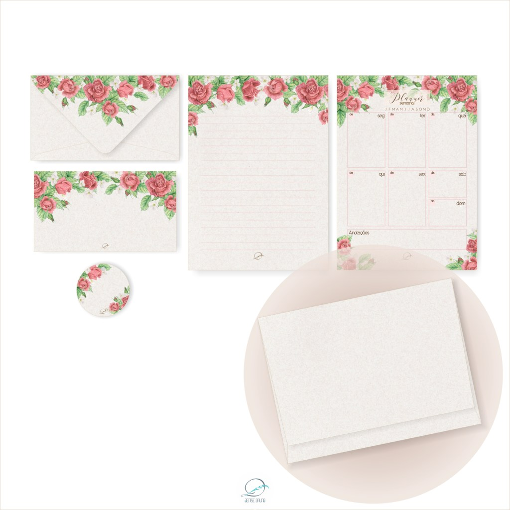 Mini kit papelaria 1 - contendo papel de carta, envelope, cartão de felicitação, planner e tag